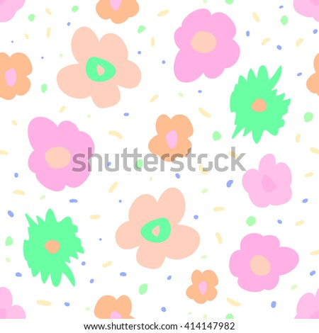 Fantasy seamless pattern with  print of cute colorful flowers. Vivid pink, blue, orange and green artistic vector illustration. Bright freehand floral wrapping. - stock vector