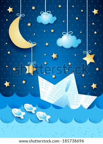 Fantasy seascape with paper boat, by night. Vector  - stock vector