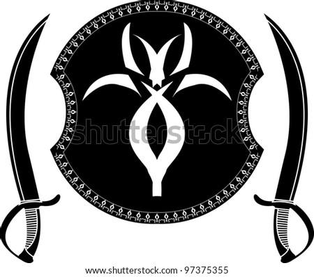 fantasy shield and swords of pirates. stencil. vector illustration - stock vector