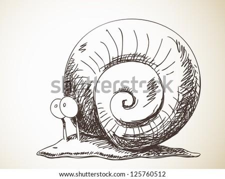 Fantasy sketch of snail - stock vector