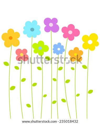 Fantasy spring flowers growing. Vector illustration - stock vector