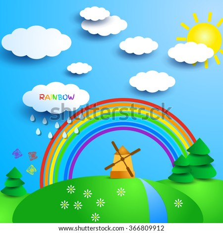 Fantasy sunny landscape with windmill and rainbow. Sunny day in countryside. Sun and clouds, trees and river, flowers and butterflies. Cute cartoon style. Vector illustration for beautiful design. - stock vector