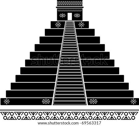 fantasy temple. third variant. stencil. vector illustration - stock vector