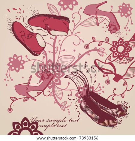 fantasy tree with trendy shoes and flowers - stock vector
