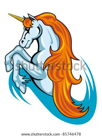 Fantasy unicorn horse in cartoon style for tattoo design. Rasterized version also available in gallery - stock vector