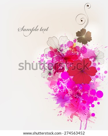 Fantasy  vector background with colorful flower and butterflies. Abstract floral elements .