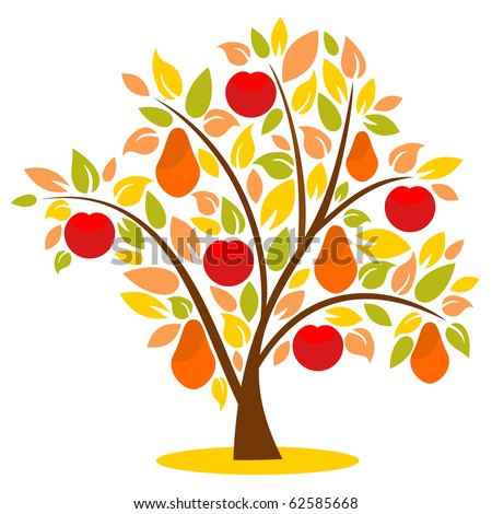 Fantasy  vector tree with symbolic apples and pears - stock vector