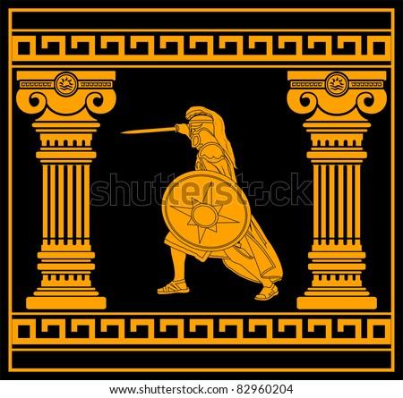 fantasy warrior with columns. fourth variant. vector illustration - stock vector