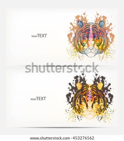 Fantasy Watercolor vector background with colorful tiger. Abstract floral elements .Colorful Banner Design - stock vector