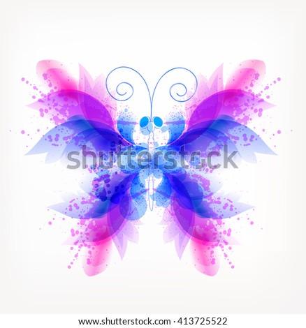 Fantasy Watercolor vector colorful butterflies - stock vector