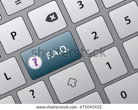 Faq button on laptop keyboard or personal computer.  Concept of  help, information, support and helpdesk.