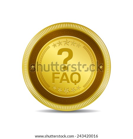 FAQ Golden Vector Icon Button