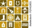 Far West's pictograms - stock vector