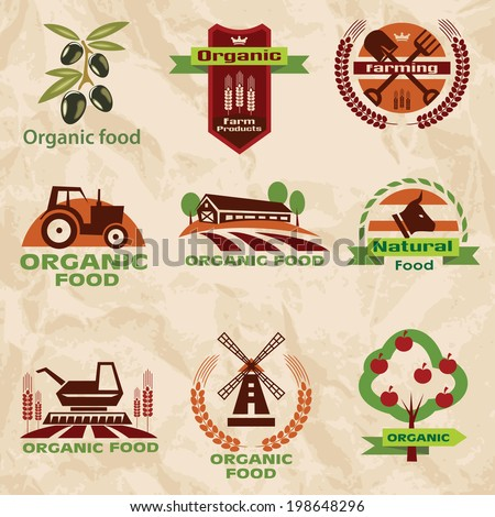 farm, agriculture icons, labels collection, set#2 - stock vector
