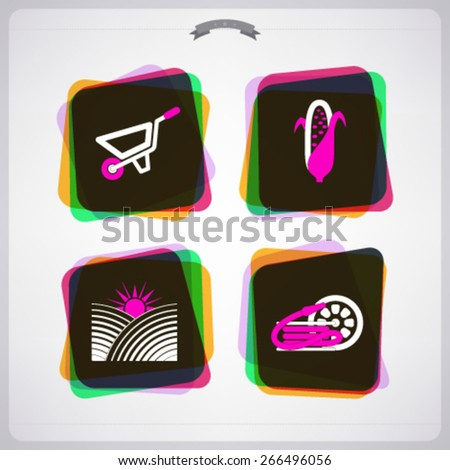 Farm (agriculture) signs, from left to right, top to bottom -  Wheelbarrow, Maize (Corn), Cultivation area, Garden hose.   - stock vector