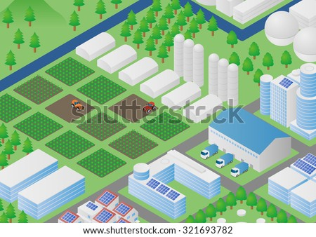 farm and agriculture, country and city, landscape illustration