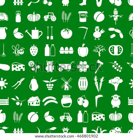 farm and farming simple icons set vector seamless pattern eps10