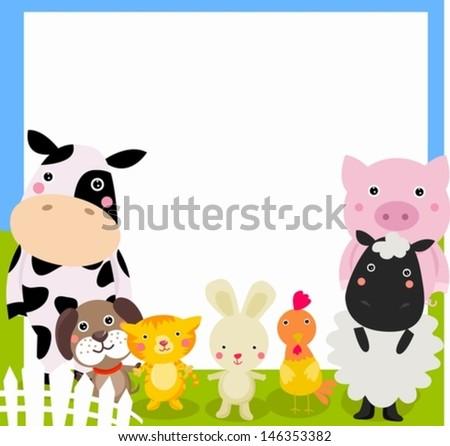 farm animal and frame - stock vector