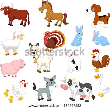 Farm animal collection set - stock vector