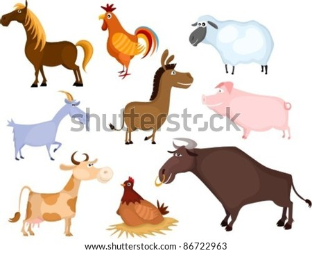 farm animal set - stock vector