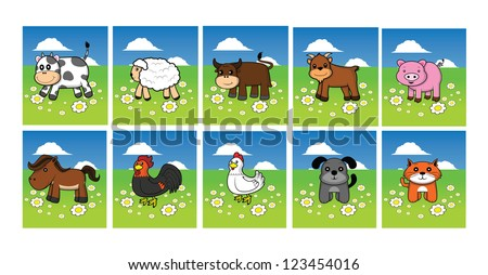 farm animal set cow, sheep, buffalo, goat, pig, horse, rooster, hen, cat, dog grass land background - stock vector