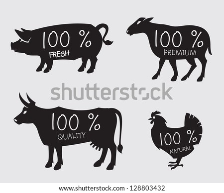 farm animals - stock vector