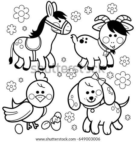 Farm Animals Black White Coloring Book Stock Vector 666457327 ...