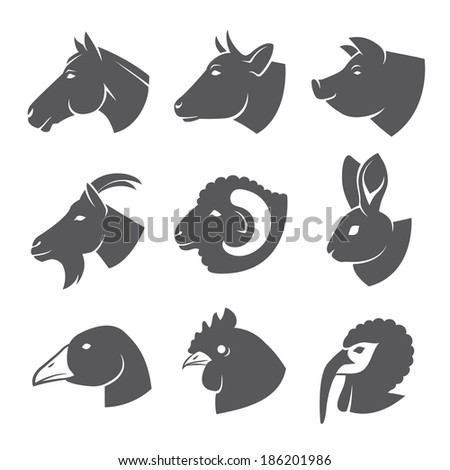 Farm animals and birds icon set - stock vector