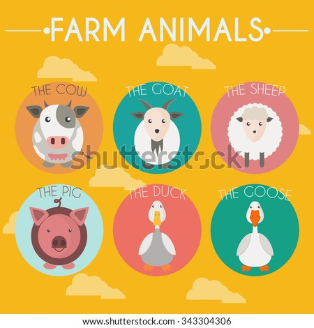 Farm Animals and Birds Round Icons Set. Cow, Goat, Sheep, Pig, Duck and Goose. Clouds Vector illustration. - stock vector