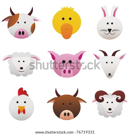 Farm Animals Collection color icons featuring funny farm animals