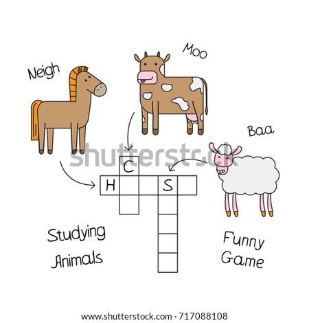 Farm Animals Crossword For Kids Vector Design Children Education