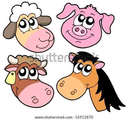 Farm animals details collection - vector illustration. - stock vector
