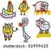 farm animals doodles: hen, chicken, pig, cow, goose, sheep - stock vector