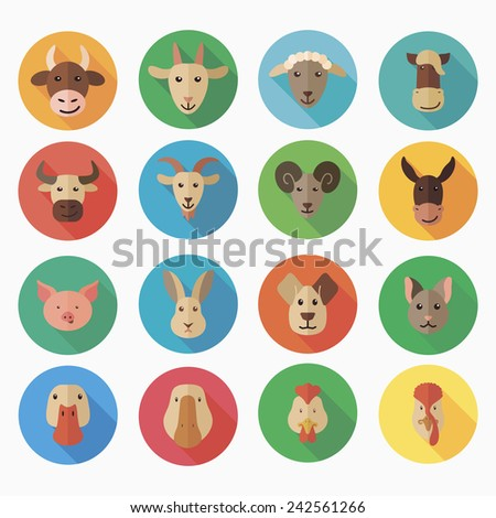 Farm animals flat icon with long shadow - stock vector