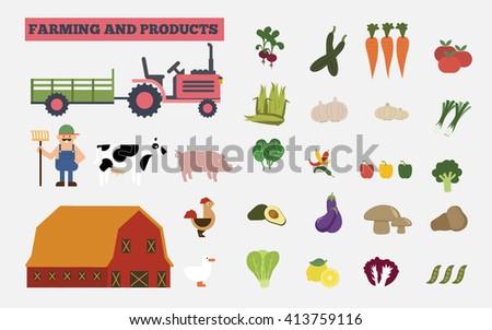 Farm animals, food and drink production, organic product, farm vector illustration. Farm  harvest collection. - stock vector
