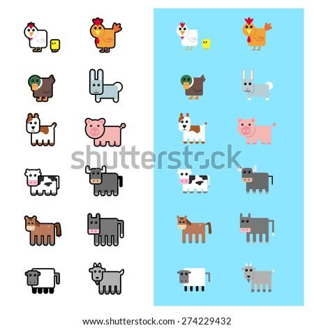 Farm Animals Icons - stock vector