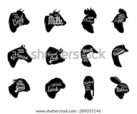 Farm animals icons collection. Farm animals and butchery labels templates isolated on white. - stock vector