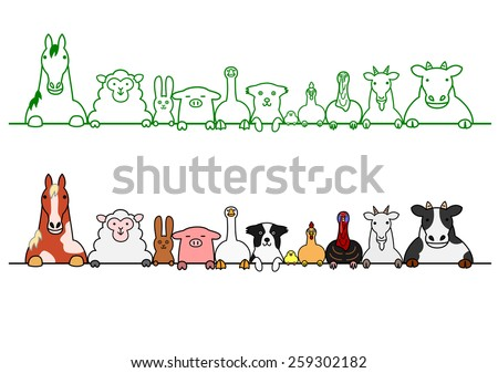 farm animals in a row with copy space - stock vector