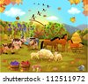 farm animals in the autumn field - stock vector