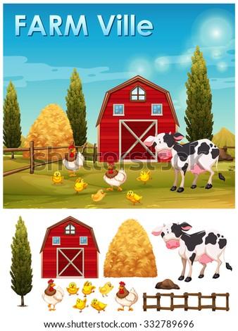 Farm animals in the farm illustration - stock vector