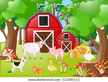 Farm animals in the field illustration
