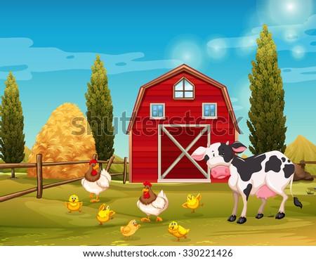 Farm animals living in the farm illustration - stock vector