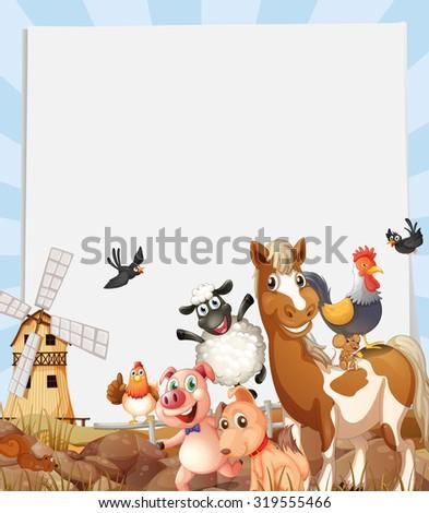 Farm animals living on farmland illustration - stock vector