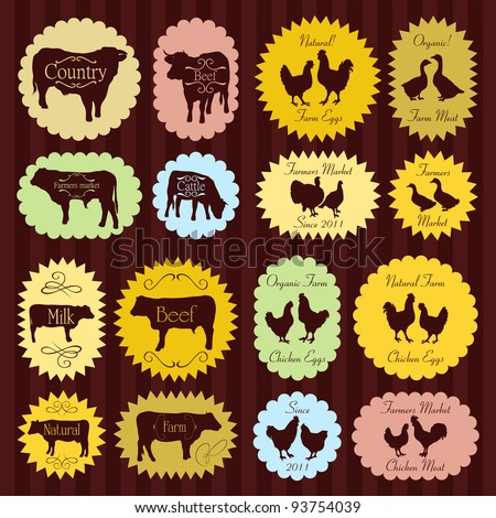 Farm animals market egg and meat labels food illustration collection background vector - stock vector