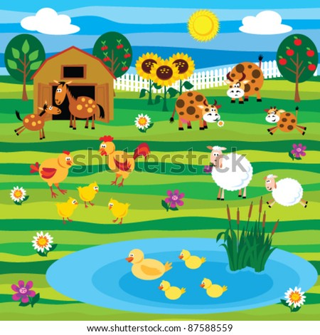 Farm animals on the farm set - stock vector