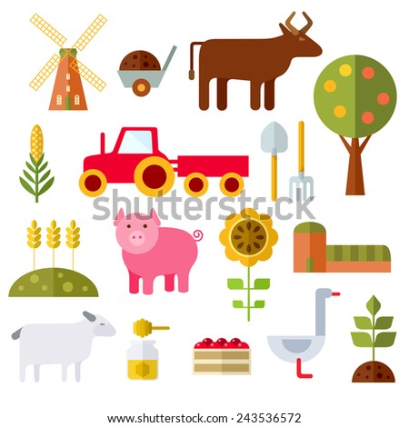 Farm animals, plants, fresh products, buildings and equipments. Colorful modern vector flat icons set. Isolated objects. Collection for web and mobile apps. Vector file is EPS8. - stock vector
