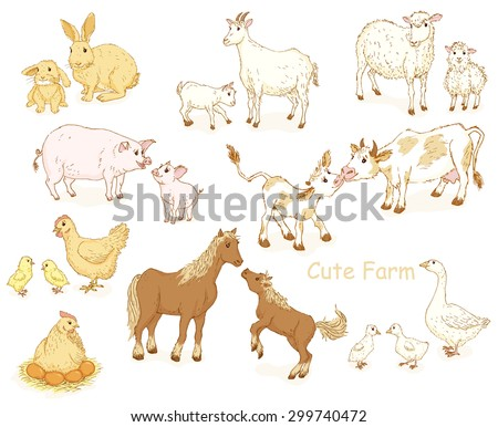 Farm animals set. Cute pets collections with moms and babes. Vector illustration - stock vector