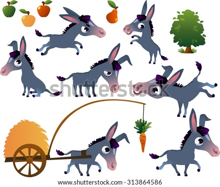 Farm animals set: donkey