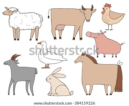 Farm animals set. Handdrawn illustration made in vector. Cute and funny farm animals isolated on background. - stock vector