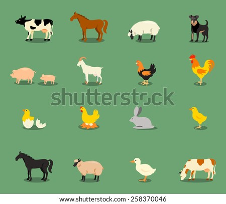 Farm animals set in flat vector style with a chicken hen cock pig sheep beef dairy cow horse.  - stock vector